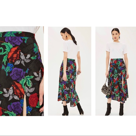 4ffdcb5cf6 Topshop Skirts | Top Shop Midi Dress Black Raven Floral Print | Poshmark